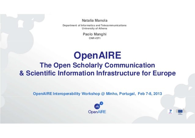 The Services of the OpenAIREplus Infrastructure for Scholarly Communication – Natalia Manola
