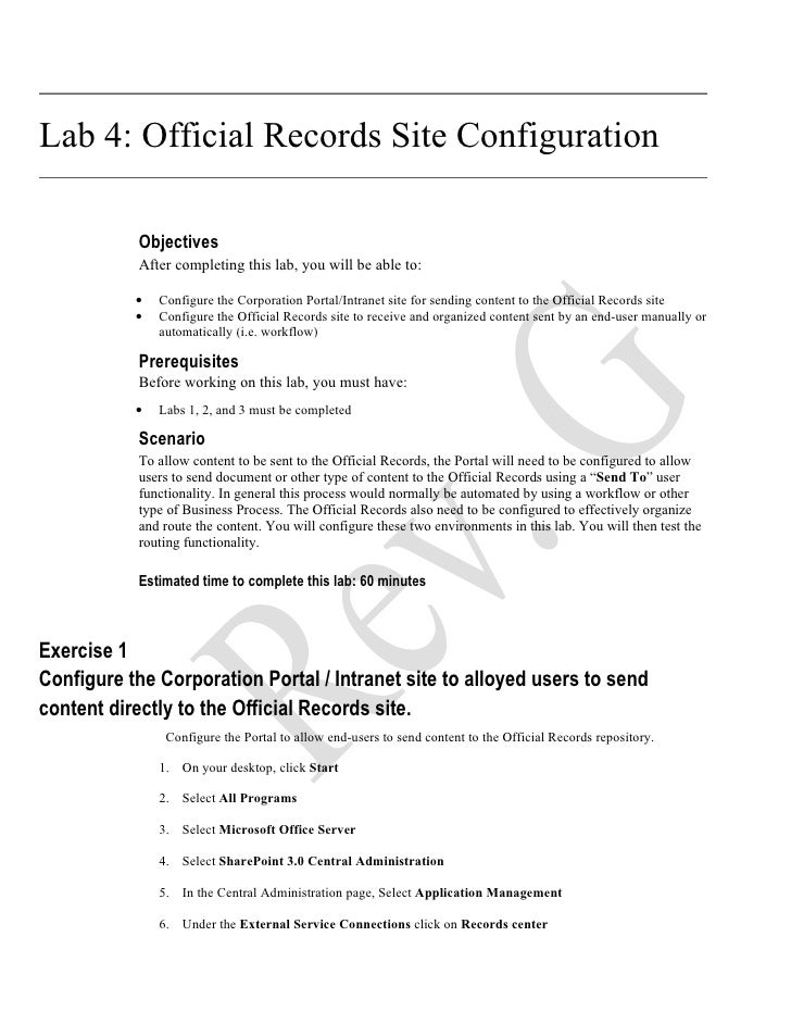 Lab 4: Official Records Site Configuration             Objectives            After completing this lab, you will be able t...