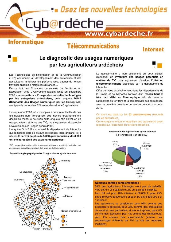 Le diagnostic des usages numériques                                      par les agriculteurs ardéchois Les Technologies d...