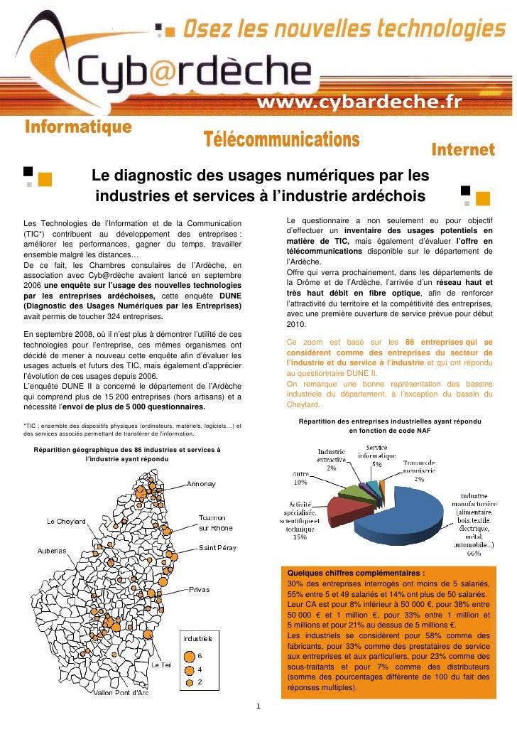 Le diagnostic des usages numériques par les                          industries et services à l'industrie ardéchois Les Te...