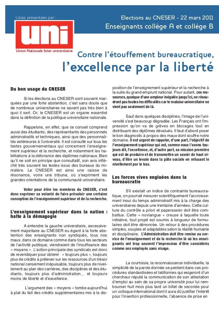 Listes présentées par :                                          Elections au CNESER - 22 mars 2011                       ...