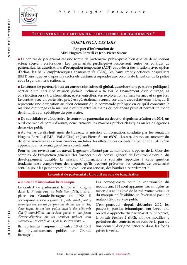 Sénat – 15, rue de Vaugirard - 75291 Paris Cedex 06 - www.senat.fr LES CONTRATS DE PARTENARIAT : DES BOMBES À RETARDEMENT ...