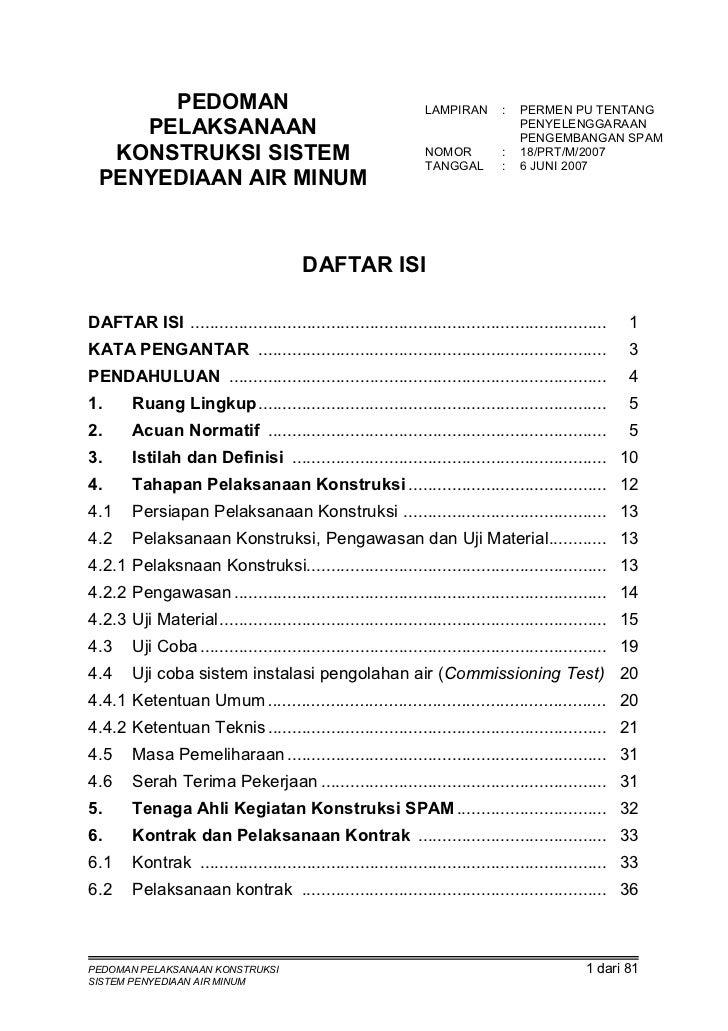 Pedoman Pelaksanaan Konstruksi Sistem Penyediaan Air Minum