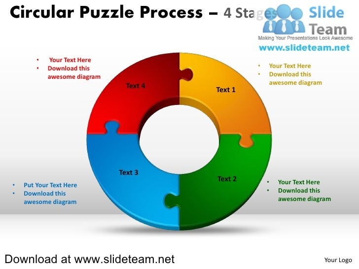 4 Pieces Pie Chart Circular Puzzle With Hole In Center