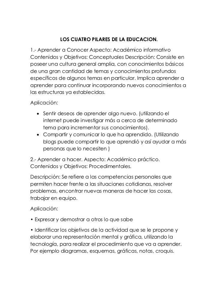 LOS CUATRO PILARES DE LA EDUCACION.<br />1.- Aprender a Conocer Aspecto: Académico informativo Contenidos y Objetivos: Con...