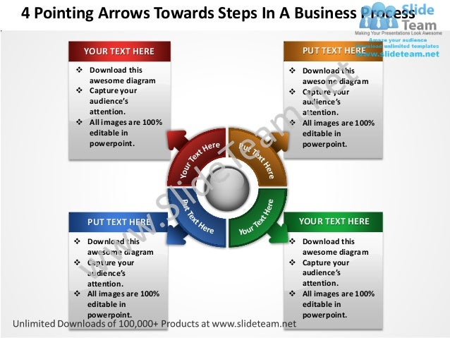 4 pointing arrows towards  steps in a business process powerpoint templates 0812