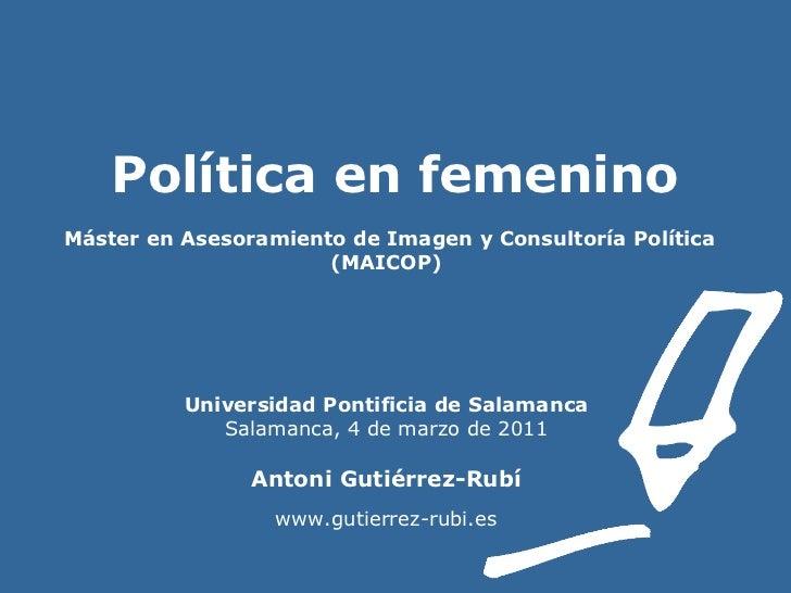 Políticas. Política en femenino