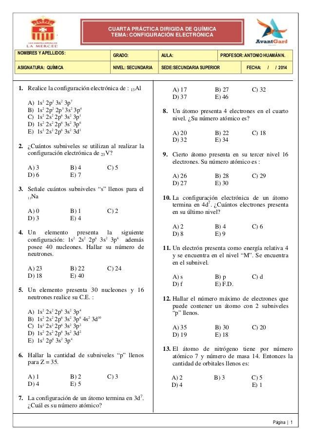 4° práctica dirigida 4 to de secundaria  (configuración electrónica_)