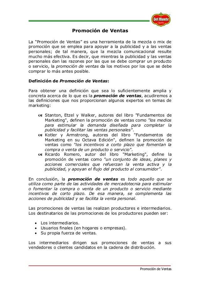"""Promoción de Ventas Promoción de Ventas La """"Promoción de Ventas"""" es una herramienta de la mezcla o mix de promoción que se..."""