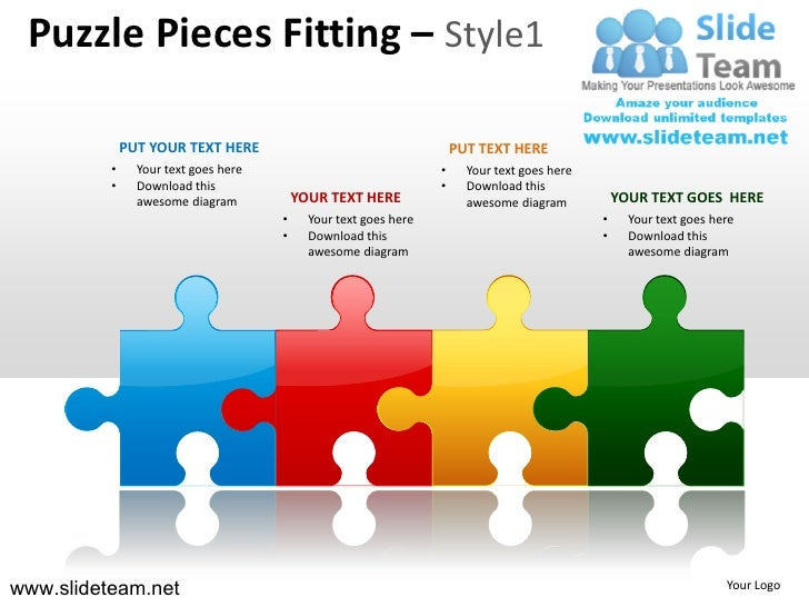 4 puzzle pieces in a line  fitting style design 1 powerpoint presentation templates.