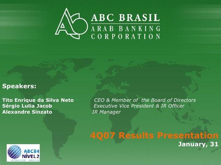 Speakers:  Tito Enrique da Silva Neto    CEO & Member of the Board of Directors Sérgio Lulia Jacob            Executive Vi...