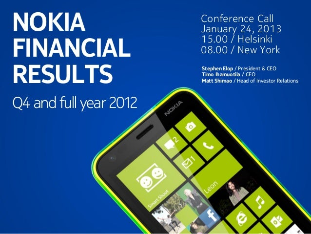 NOKIA FINANCIAL RESULTS 4Q2012