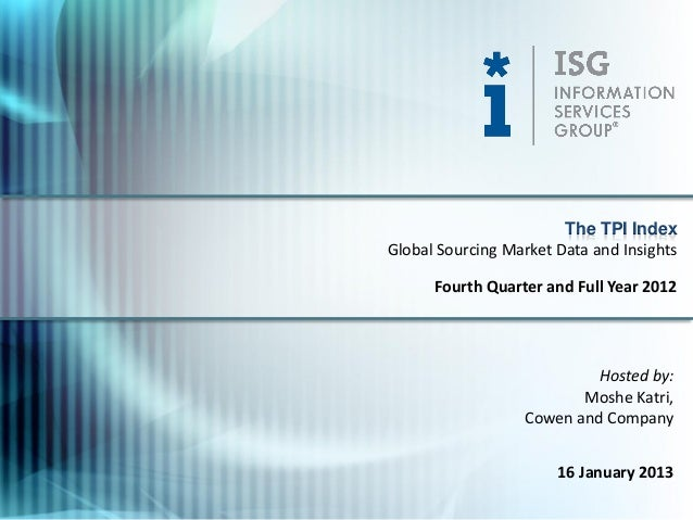 The TPI IndexGlobal Sourcing Market Data and Insights      Fourth Quarter and Full Year 2012                           Hos...