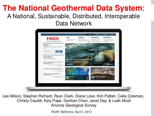 The National Geothermal Data System:  A National, Sustainable, Distributed, Interoperable                    Data Network ...