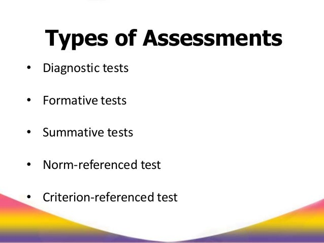 types of assessment test Principles of assessment types of assessment - some definitions formative assessment formative assessment is an integral part of teaching and learning.