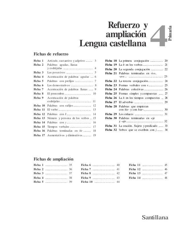Primaria 4 Refuerzo y ampliación Lengua castellana Fichas de refuerzo Ficha 1 Artículo, sustantivo y adjetivo .......... 3...