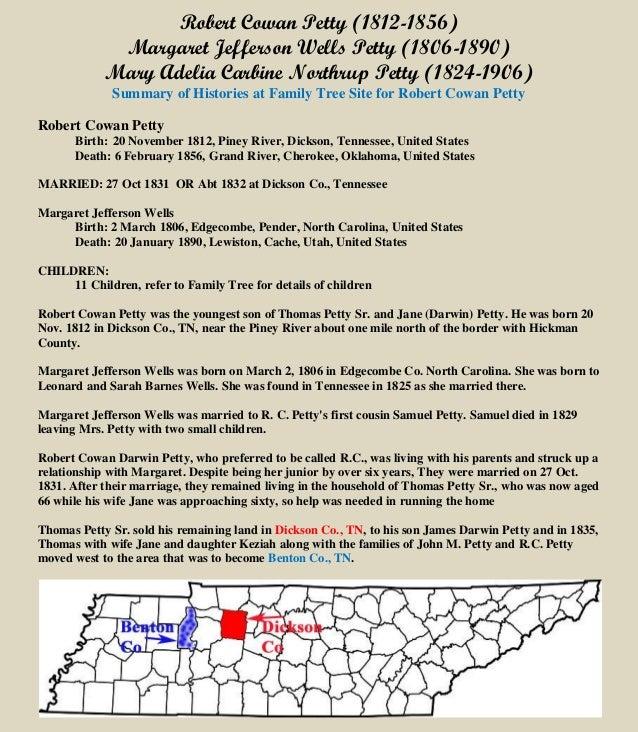 Robert Cowan Petty (1812-1856) Margaret Jefferson Wells Petty (1806-1890) Mary Adelia Carbine Northrup Petty (1824-1906) S...