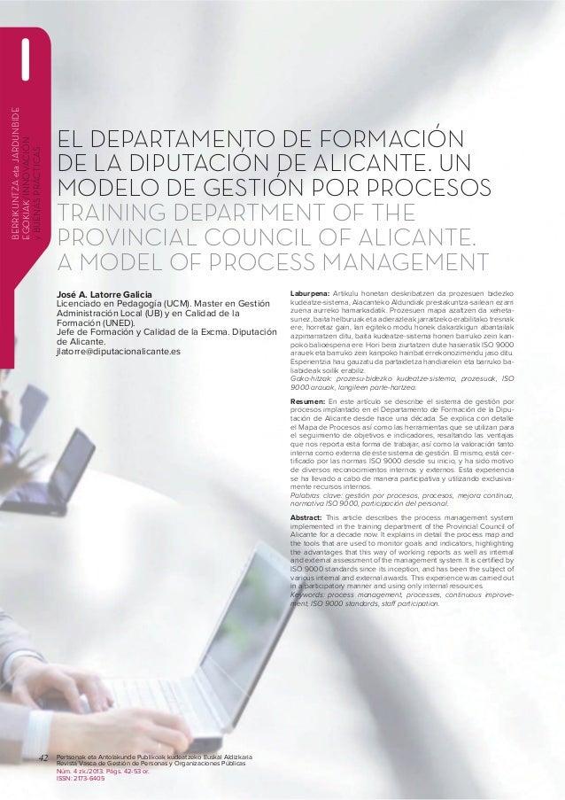 Sistema de Gestión por Procesos. Departamento Formación, Diputación Alicante