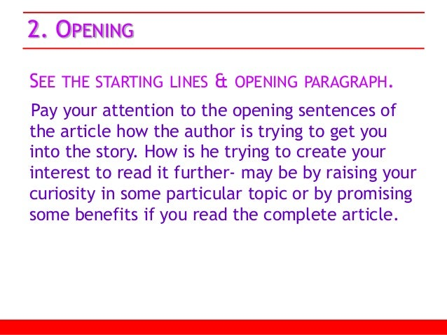 Good starting paragraphh?