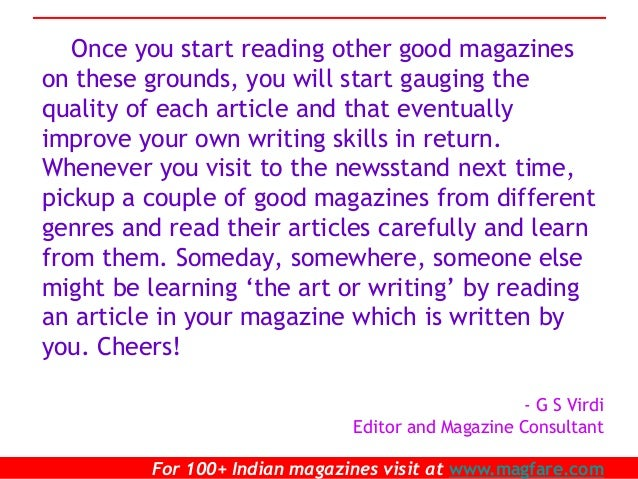 Become a writer for a magazine