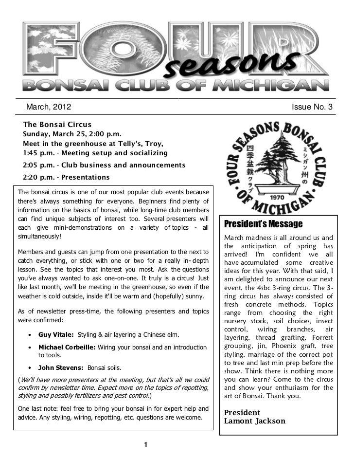 March, 2012                                                                                 Issue No. 3 The Bonsai Circus ...