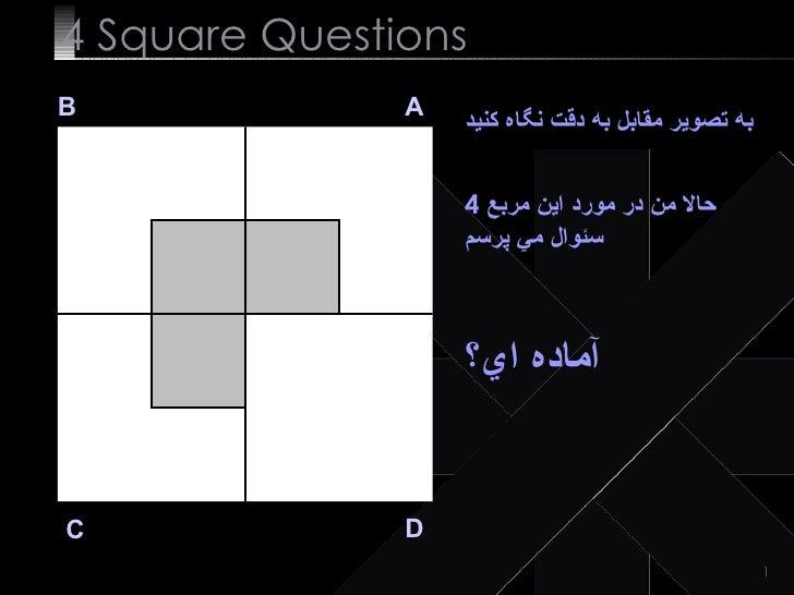 4  Square   Questions B A D C به تصوير مقابل به دقت نگاه كنيد حالا من در مورد اين مربع  4  سئوال مي پرسم آماده اي؟