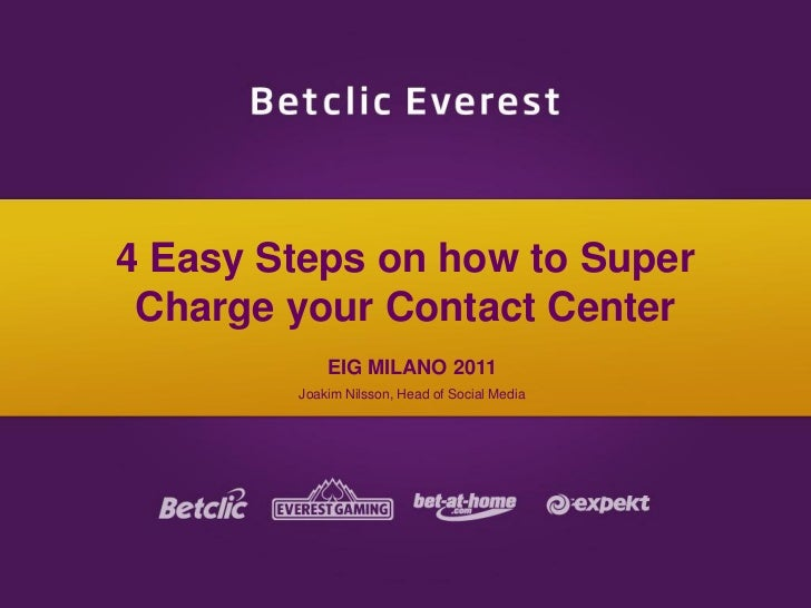 4 Easy Steps on how to Super Charge your Contact Center EIG MILANO 2011 Joakim Nilsson, Head of Social Media