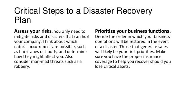 the importance of integrating a disaster recovery plan in a company Business continuity and disaster recovery planning: the basics good business continuity plans will keep your company up and running through interruptions of any kind: power failures, it system crashes, natural disasters, supply.