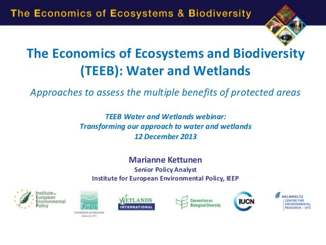The Economics of Ecosystems and Biodiversity (TEEB): Water and Wetlands Approaches to assess the multiple benefits of prot...