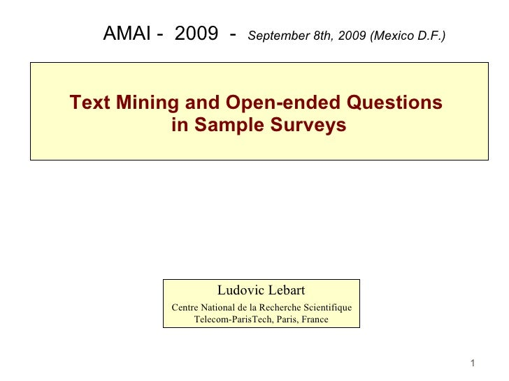 4 text mining and open ended questions in sample surveys ludovic lebart cnrs