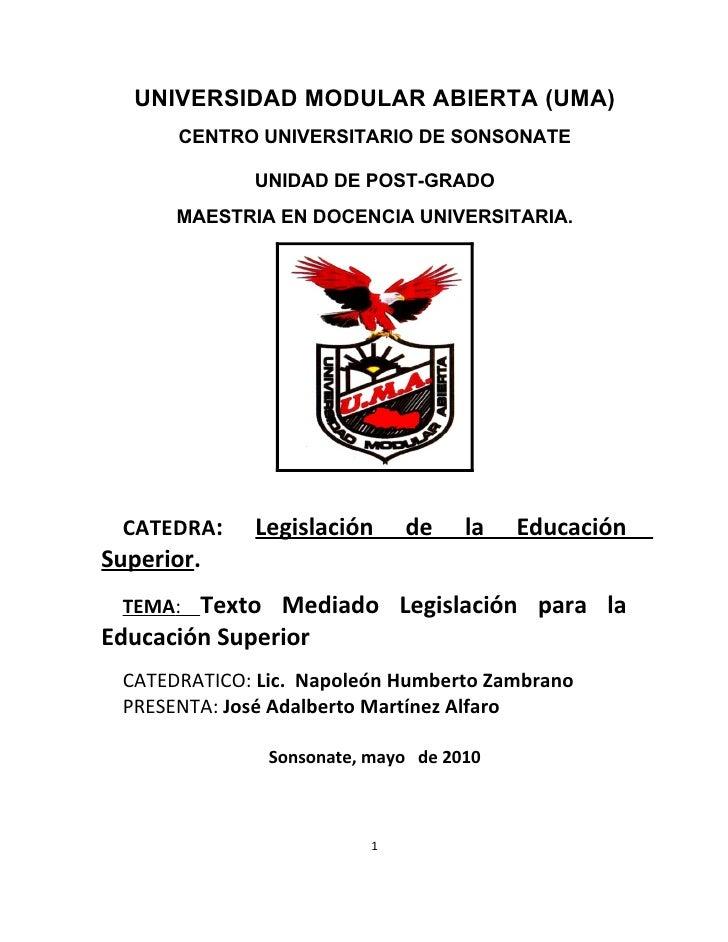 UNIVERSIDAD MODULAR ABIERTA (UMA)       CENTRO UNIVERSITARIO DE SONSONATE               UNIDAD DE POST-GRADO       MAESTRI...