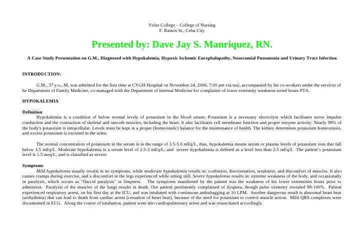 Hypokalemia, Hypoxic Ischemic Encephalopathy, Nosocomial Pneumonia and Urinary Tract Infection