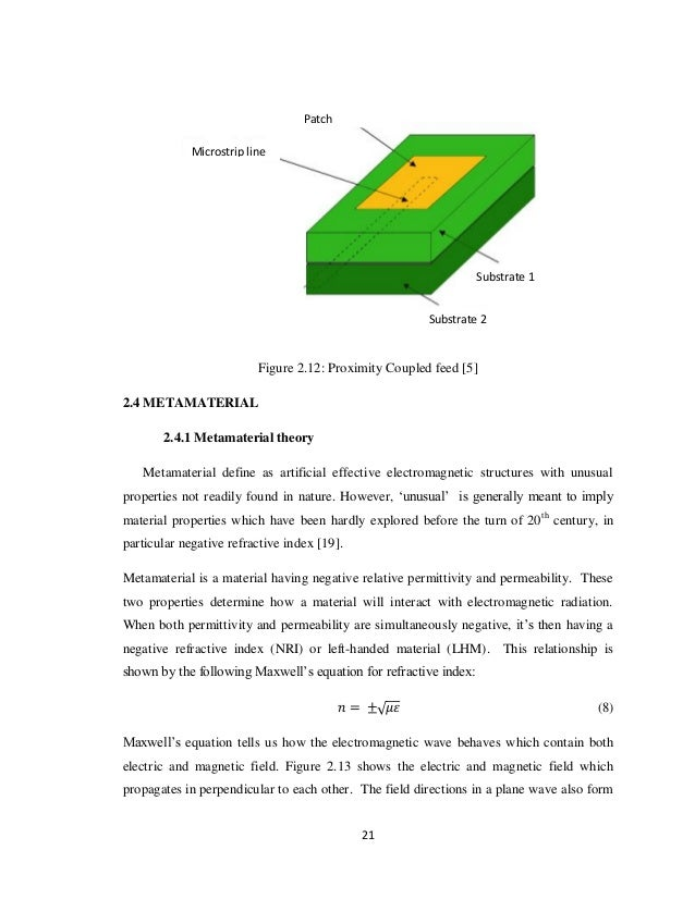 thesis on microstrip patch antenna using metamaterial Thesis abstract (arabic) figure4 16 hfss schematic of implementation of microstrip line fed patch antenna array.