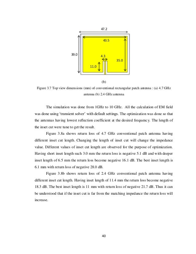 thesis on microstrip patch antenna design The aim of the thesis is to design and fabricate a line feed rectangular to design a rectangular microstrip patch antenna we decide the substrate material and the.