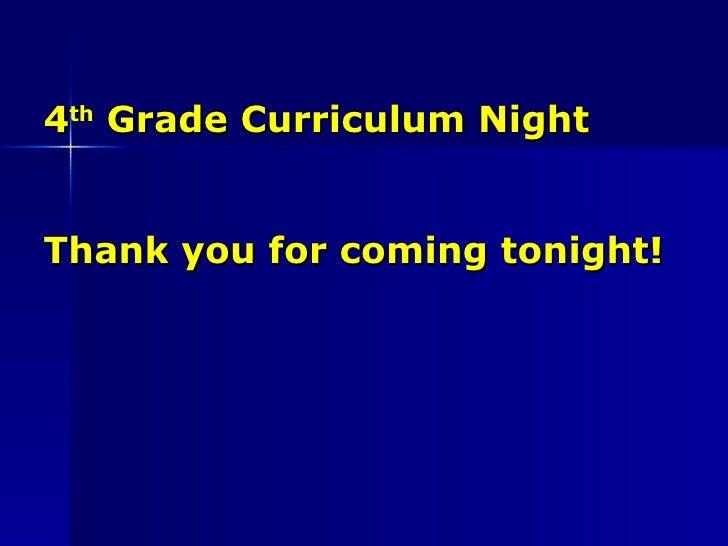4th grade curriculum night classroom  10 11