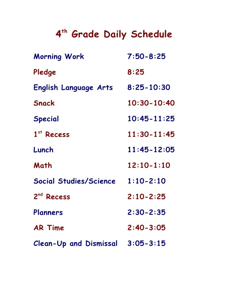 4th grade daily schedule