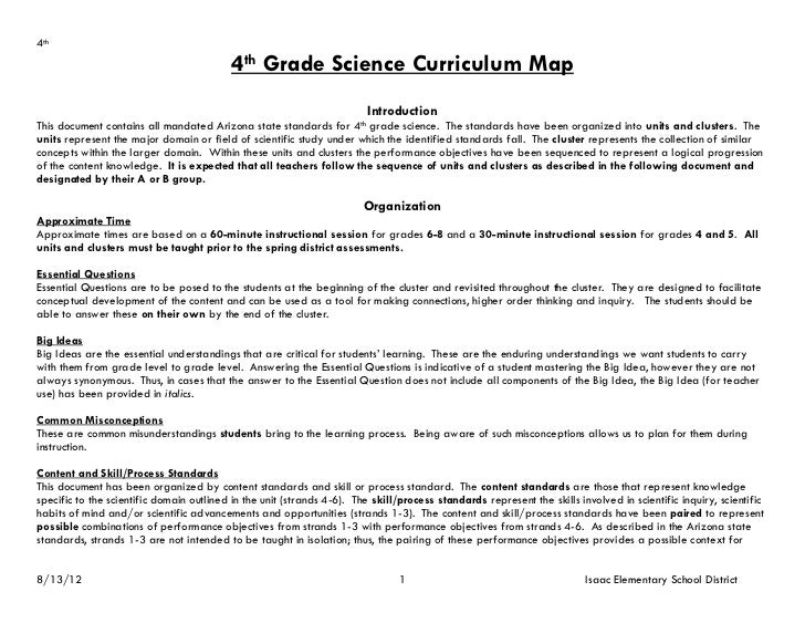 4th                                           4th Grade Science Curriculum Map                                            ...