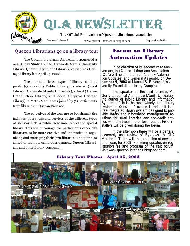 QLA NEWSLETTER                                  The Official Publication of Quezon Librarians Association                 ...