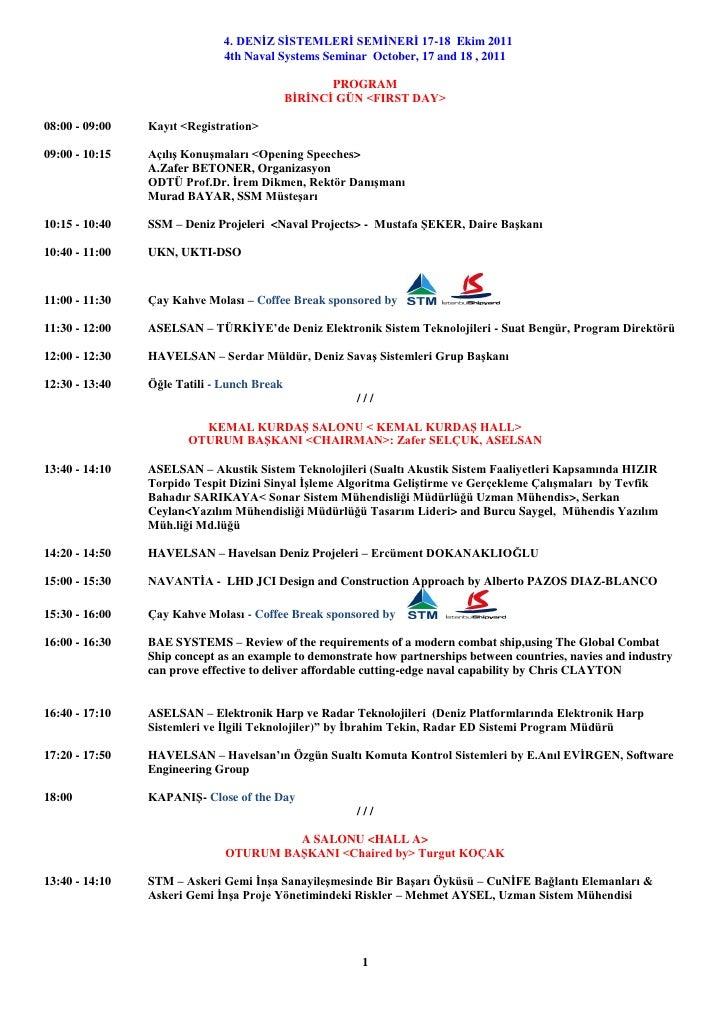 4th Naval Systems Seminar Program
