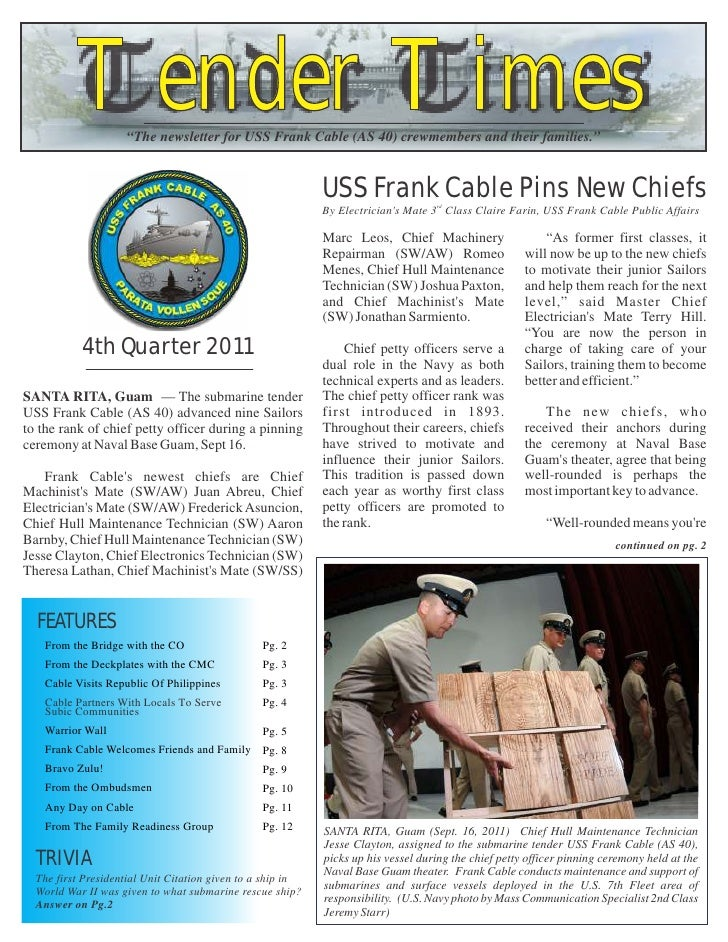 """Tender Times                    """"The newsletter for USS Frank Cable (AS 40) crewmembers and their families.""""              ..."""