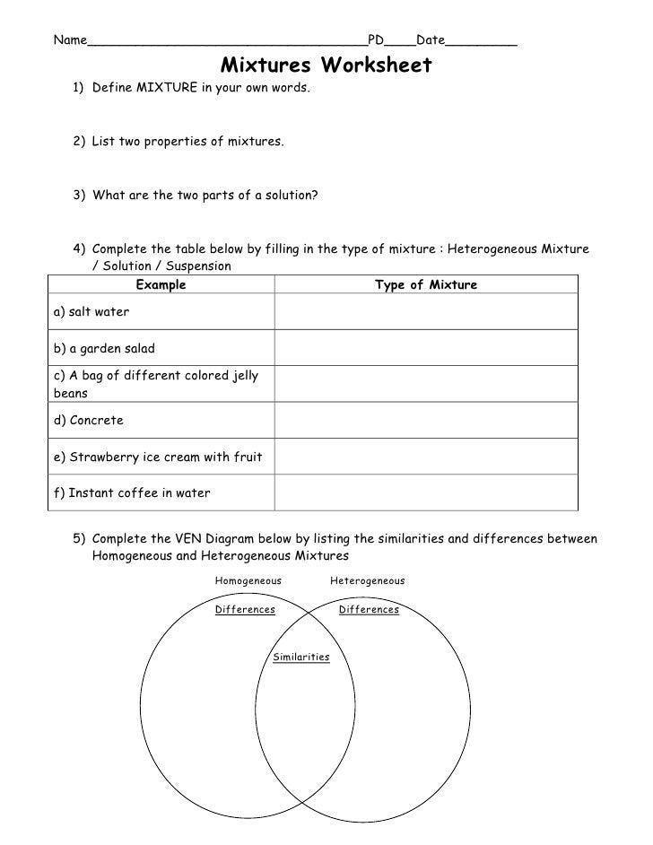 Name___________________________________PD____Date_________                               Mixtures Worksheet    1) Define M...