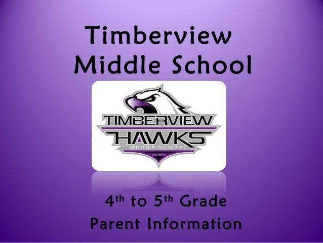 TimberviewMiddle School4thto 5thGradeParent Information