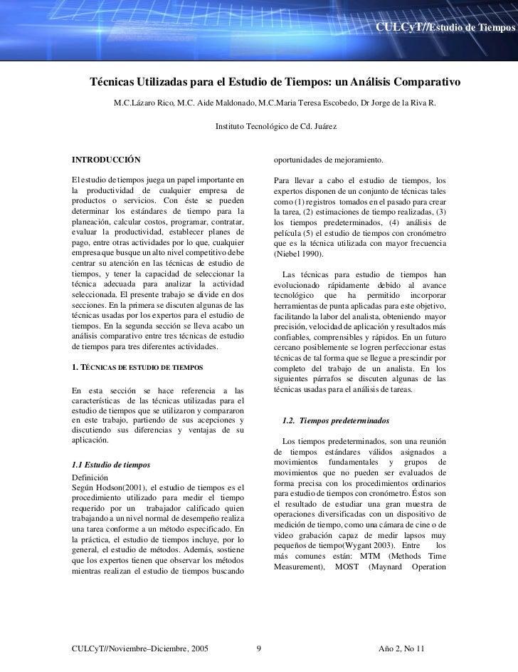 CULCyT//Estudio de Tiempos     Técnicas Utilizadas para el Estudio de Tiempos: un Análisis Comparativo            M.C.Láza...