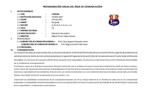 """PROGRAMACIÓN ANUAL DEL ÁREA DE COMUNICACIÓN I. DATOS GENERALES 1.1 UGEL : CHINCHA 1.2 INSTITUCIÓN EDUCATIVA : """"SANTA ANA"""" ..."""