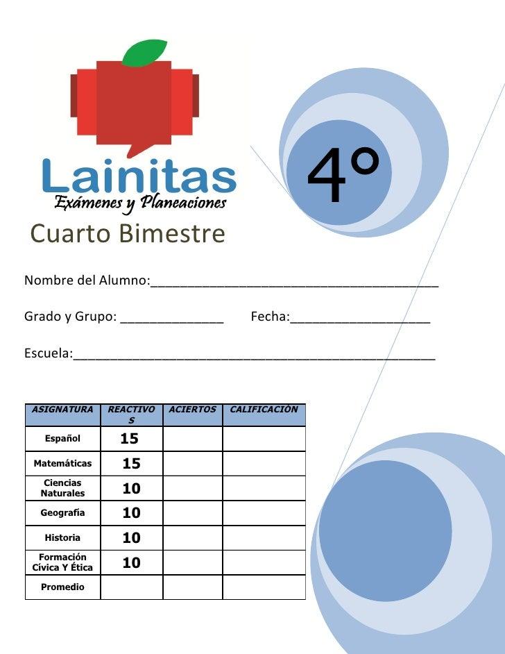 4to grado bimestre 4 for Cuarto grado de primaria
