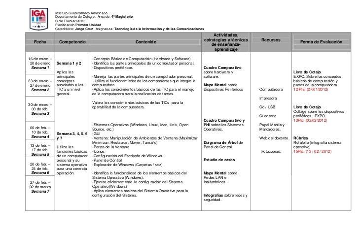Instituto Guatemalteco Americano                Departamento de Colegio, Área de: 4º Magisterio                Ciclo Escol...