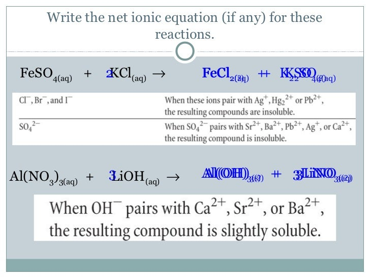 how to write ionic equaitons