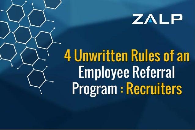 4 unwritten rules of an employee referral program for recruiters - Zalp