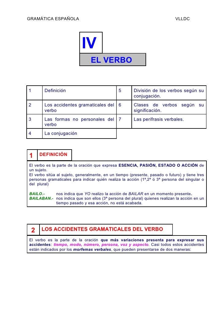 GRAMÁTICA ESPAÑOLA                                                           VLLDC                           IV           ...