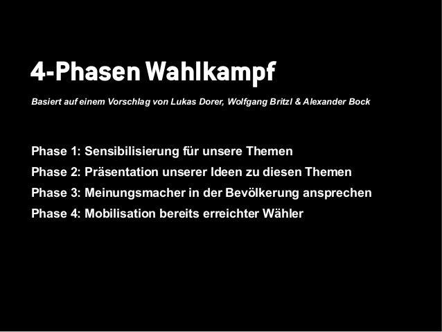 4-Phasen WahlkampfBasiert auf einem Vorschlag von Lukas Dorer, Wolfgang Britzl & Alexander BockPhase 1: Sensibilisierung f...